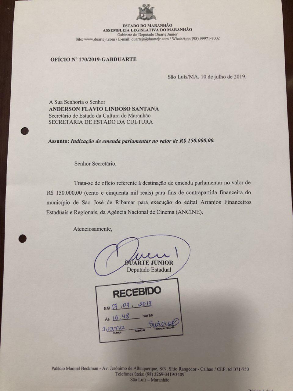 Documento que desmente aliados do prefeito Eudes Sampaio